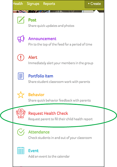 Health Checks in Create Menu